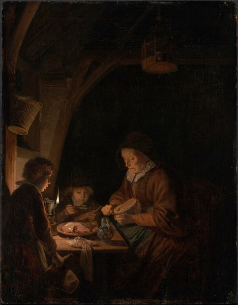 Gerrit Dou, Old Woman Cutting Bread