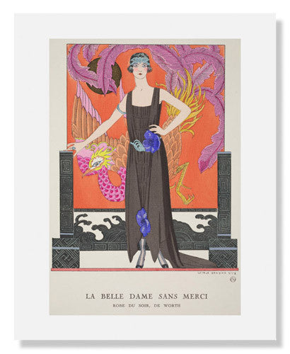 "MFA Prints archival replica print of George Barbier, ""La Belle Dame sans Merci - Robe du soir, de Worth"" from the Museum of Fine Arts, Boston collection."