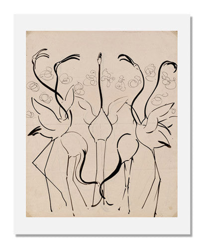 Gerrit Willem Dijsselhof, Flamingoes Design for Batik wall covering