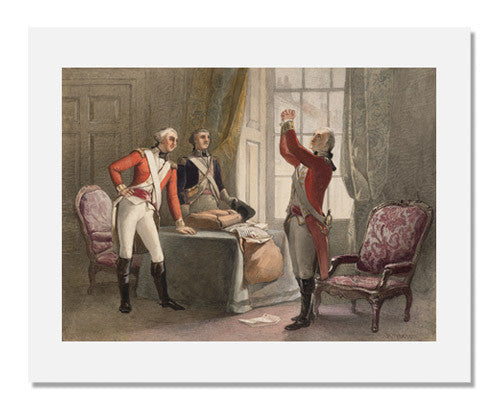 MFA Prints archival replica print of Henry Warren, George Washington in British Regular uniform and two Officers from the Museum of Fine Arts, Boston collection.