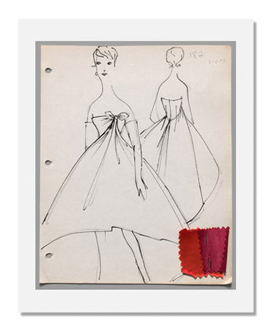 Arnold Scaasi, Page from sketch book   Fall 1958 Part 1