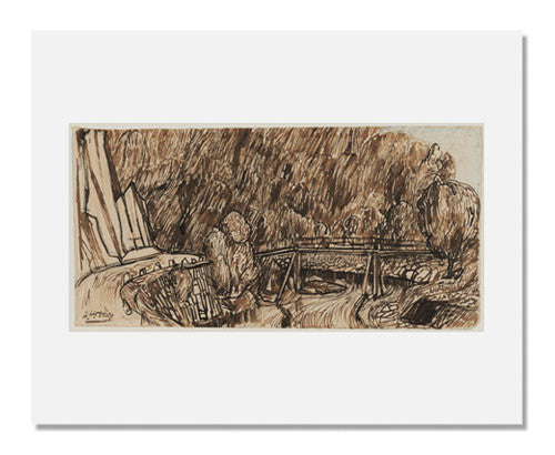 MFA Prints archival replica print of Johannes Theodorus Toorop, Landscape with River and Wooden Bridge from the Museum of Fine Arts, Boston collection.