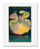 Publisher: Alfred Stiebel & Co., Kaleidoscopic card of a girl in a colorful dress