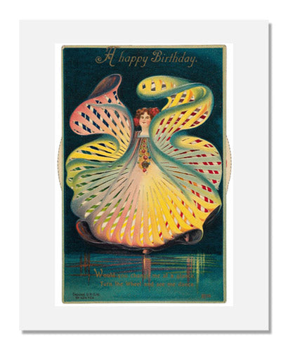 MFA Prints archival replica print of Publisher: Alfred Stiebel & Co., Kaleidoscopic card of a girl in a colorful dress from the Museum of Fine Arts, Boston collection.
