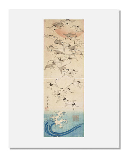 Utagawa Hiroshige I, Cranes Flying over Waves