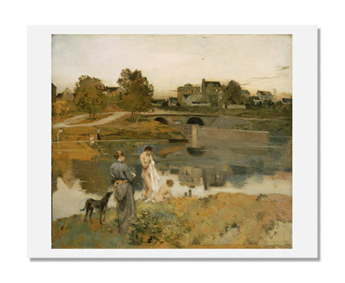 MFA Prints archival replica print of Jean Charles Cazin, Riverbank with Bathers from the Museum of Fine Arts, Boston collection.