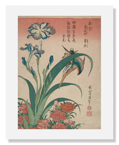 Katsushika Hokusai, Kingfisher with Iris and Wild Pinks