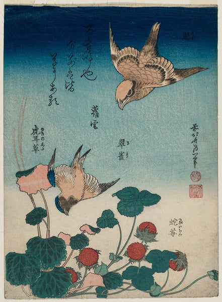 Katsushika Hokusai, Shrike and Bluebird with Begonia and Wild Strawberry