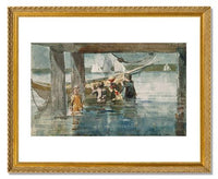 MFA Prints archival replica print of Winslow Homer, Children Playing under a Gloucester Wharf from the Museum of Fine Arts, Boston collection.