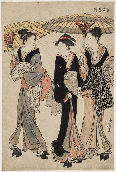 Torii Kiyonaga, Three Women in the Rain, from the series Current Manners in Eastern Brocade