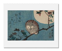 Utagawa Hiroshige I, Small Horned Owl on Maple Branch under Full Moon