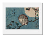 MFA Prints archival replica print of Utagawa Hiroshige I, Small Horned Owl on Maple Branch under Full Moon from the Museum of Fine Arts, Boston collection.