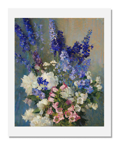 Laura Coombs Hills, Larkspur, Peonies, and Canterbury Bells