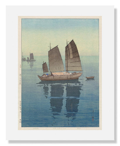 MFA Prints archival replica print of Yoshida Hiroshi, Sailboats: Forenoon from the Museum of Fine Arts, Boston collection.