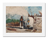 MFA Prints archival replica print of Winslow Homer, Native Woman Cooking, Bahamas from the Museum of Fine Arts, Boston collection.