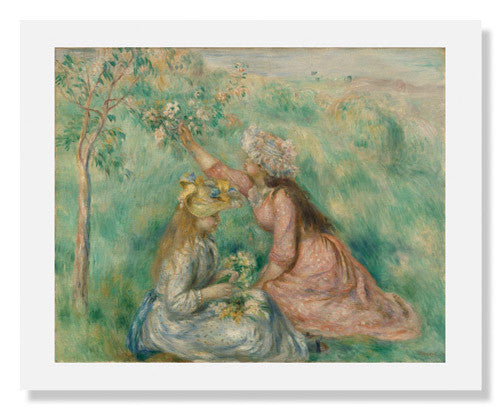 MFA Prints archival replica print of Pierre Auguste Renoir, Girls Picking Flowers in a Meadow from the Museum of Fine Arts, Boston collection.
