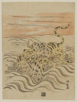 Isoda Koryūsai, Tiger and Cubs Crossing a Stream