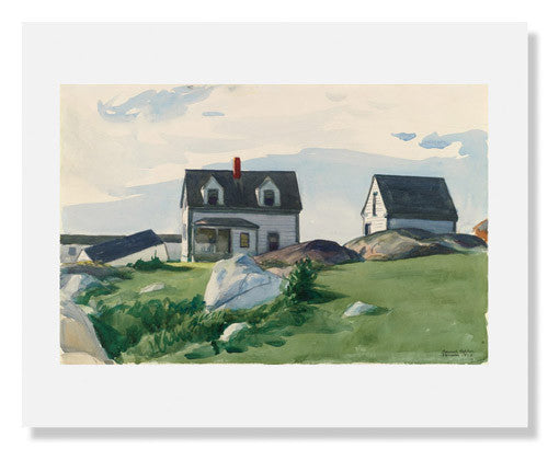 MFA Prints archival replica print of Edward Hopper, Houses of 'Squam Light, Gloucester from the Museum of Fine Arts, Boston collection.