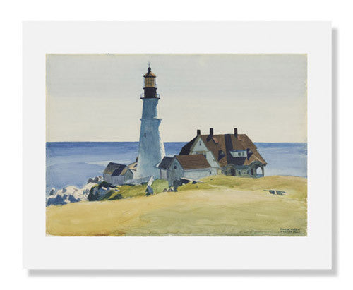 MFA Prints archival replica print of Lighthouse and Buildings, Cape Elizabeth, Maine by Edward Hopper from the Museum of Fine Arts, Boston collection.