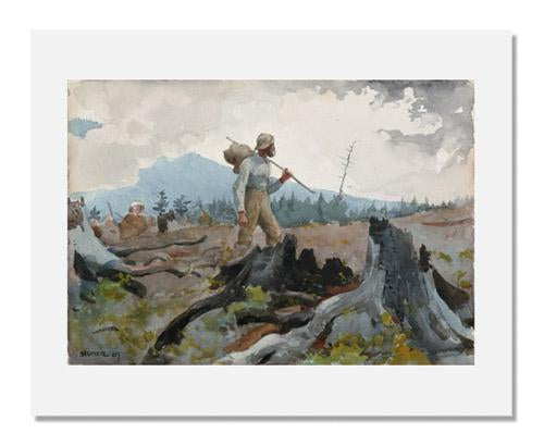MFA Prints archival replica print of Winslow Homer, The Guide and Woodsman (Adirondacks) from the Museum of Fine Arts, Boston collection.