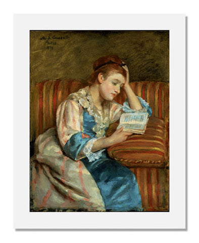 Mary Stevenson Cassatt, Mrs. Duffee Seated on a Striped Sofa, Reading
