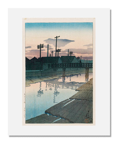 MFA Prints archival replica print of Kawase Hasui, Evening at the Lumber Yards of Kiba (Kiba no yūgure), from the series Twelve Scenes of Tokyo (Tōkyō jūnidai) from the Museum of Fine Arts, Boston collection.