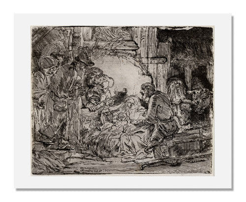 MFA Prints archival replica print of Rembrandt van Rijn, The Adoration of the Shepherds (with the lamp) from the Museum of Fine Arts, Boston collection.