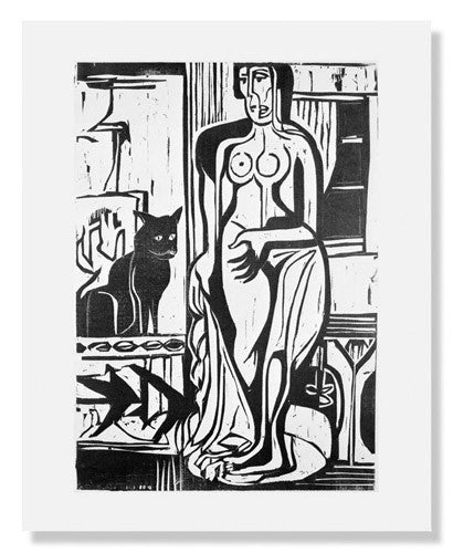 Ernst Ludwig Kirchner,  Interior with Nude and Cat
