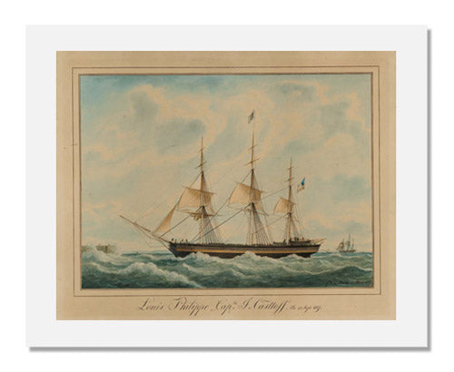 "MFA Prints archival replica print of American Packet Ship "" Louis Philippe"" Havre, 1837 by Frèdèric Roux from the Museum of Fine Arts, Boston collection."