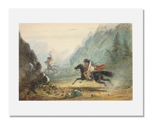 MFA Prints archival replica print of Alfred Jacob Miller, Snake Indian Pursuing a Crow Horse Thief from the Museum of Fine Arts, Boston collection.