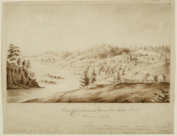 Jacques Gerard Milbert, View of Hallowell, Maine