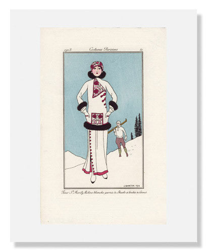 "MFA Prints archival replica print of George Barbier, ""Pour St. Moritz"" from the Museum of Fine Arts, Boston collection."