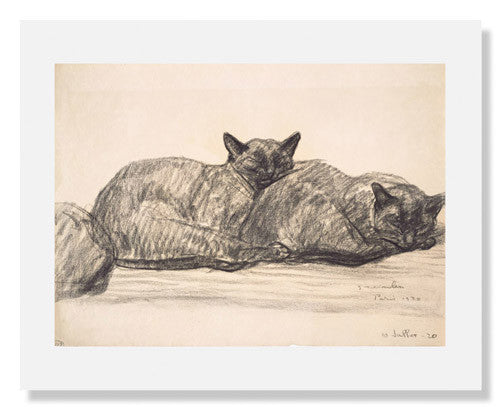 MFA Prints archival replica print of Théophile Alexandre Steinlen, Two Cats Sleeping from the Museum of Fine Arts, Boston collection.