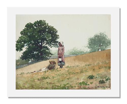 MFA Prints archival replica print of Winslow Homer, Boy and Girl on a Hillside from the Museum of Fine Arts, Boston collection.