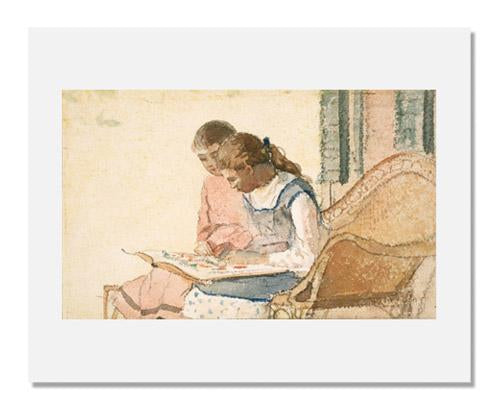 MFA Prints archival replica print of Winslow Homer, Two Girls Looking at a Book from the Museum of Fine Arts, Boston collection.