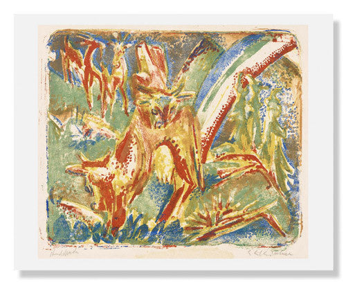 MFA Prints archival replica print of Ernst Ludwig Kirchner, Cows under a Rainbow from the Museum of Fine Arts, Boston collection.