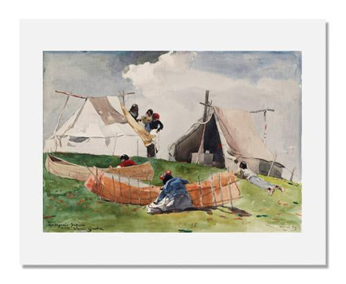 MFA Prints archival replica print of Winslow Homer, Indian Camp (Quebec) from the Museum of Fine Arts, Boston collection.
