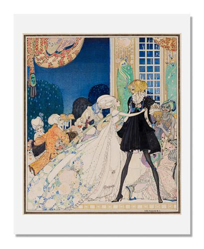 "Kay Nielsen, ""Don't drink!"" cried out the Little Princess, springing to her feet; ""I would rather marry a gardener!,"" illustration to The Twelve Dancing Princesses, from In Powder and Crinoline"