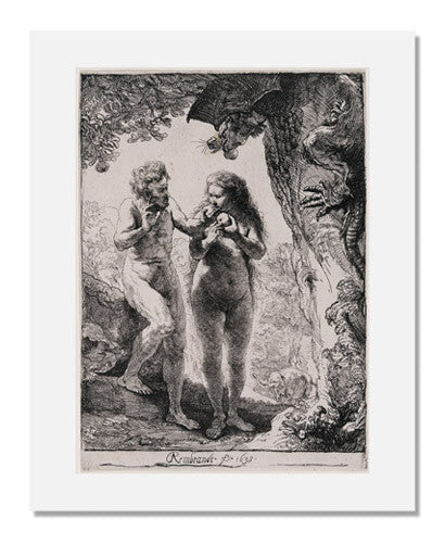 MFA Prints archival replica print of Rembrandt van Rijn, Adam and Eve from the Museum of Fine Arts, Boston collection.