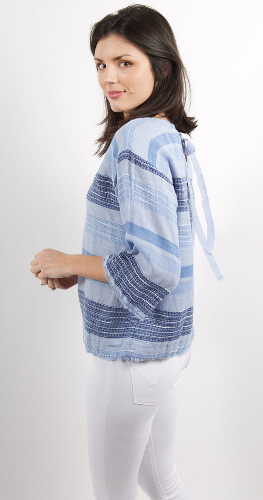 3/4 Sleeve Tie Back Pullover Shades of Blue