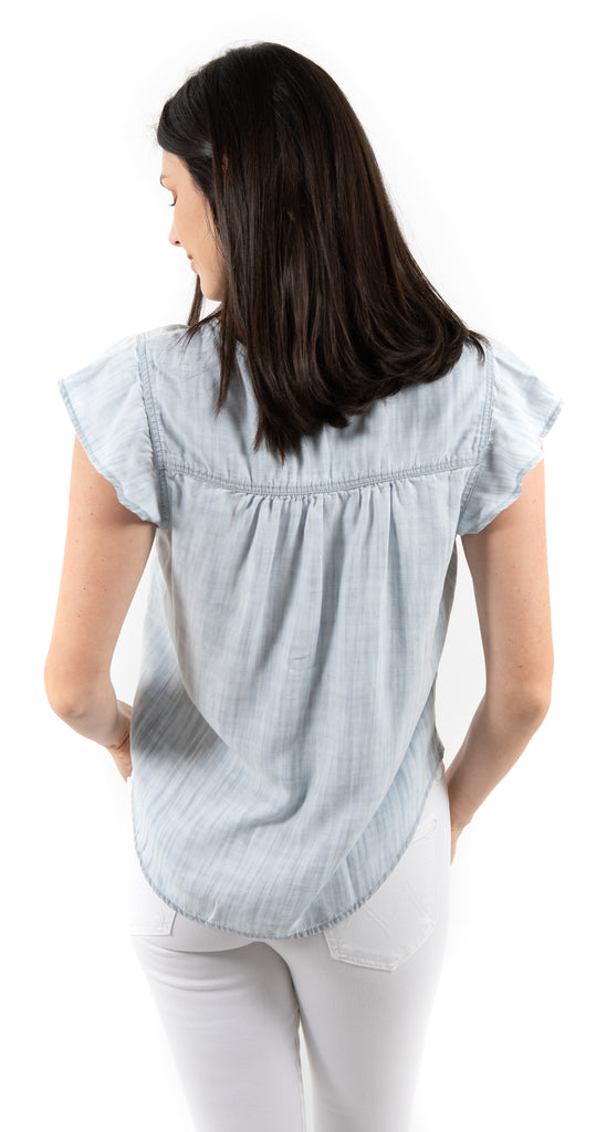 Flowy Short Sleeve Button Front Top Shadow