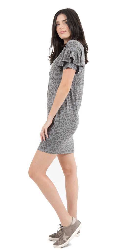 Short Sleeve Dress Leopard Charcoal