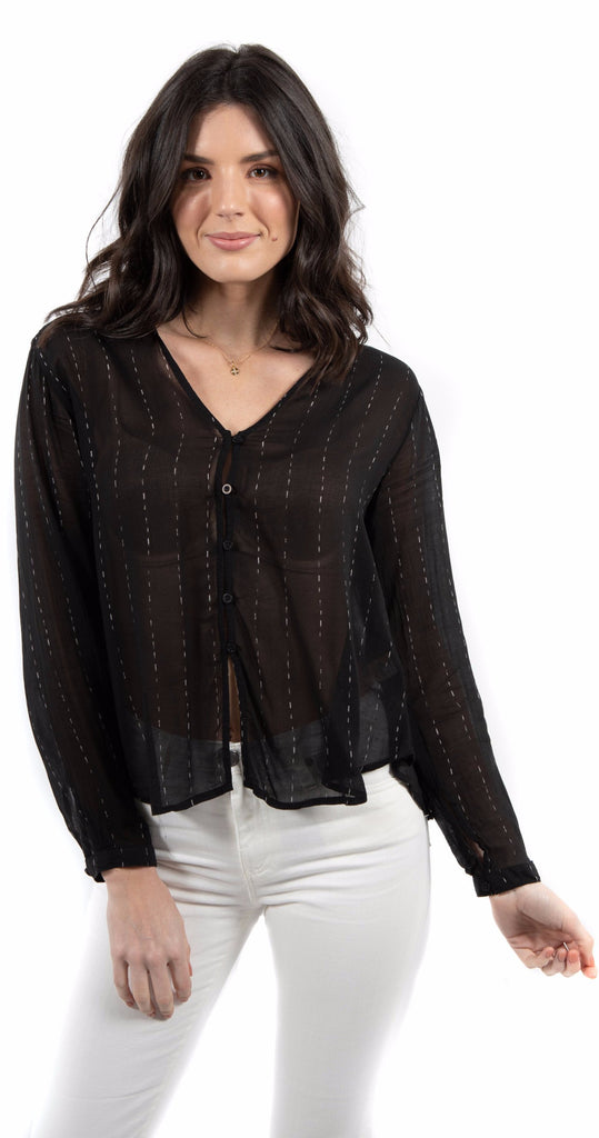 V Neck Button Down Shirt Black