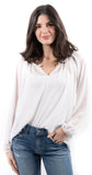Shimmer Long Sleeve Blouse White
