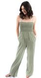 Elastic Shirred Jumpsuit Dusk Green