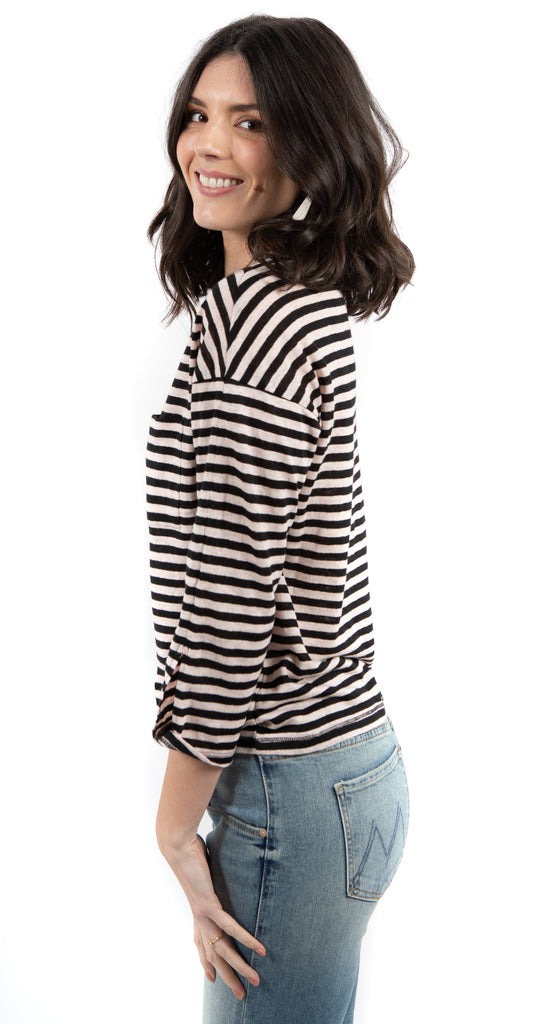 Emmett One Pocket Stripe Linen Tee Dark Pink/Black
