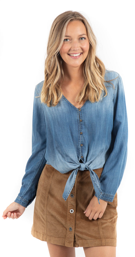 Long Sleeve Tie Front Top Meadow Wash