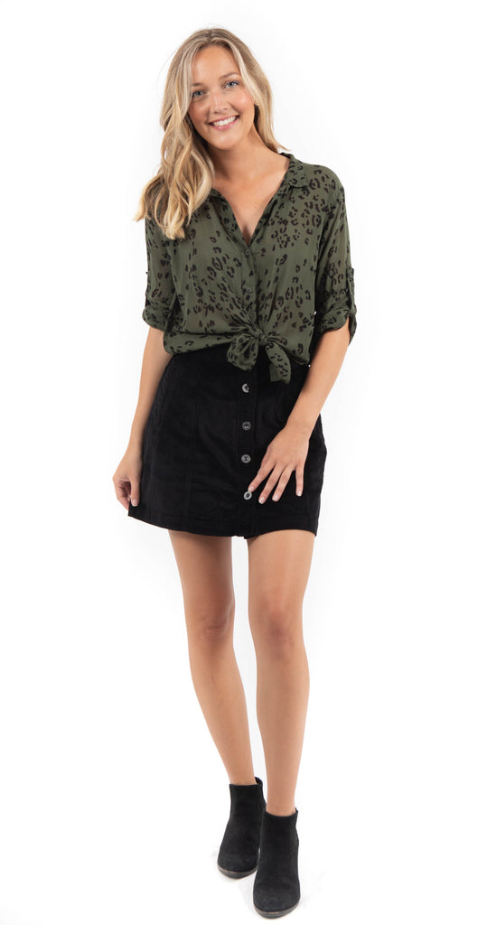 Button Front Skirt Black