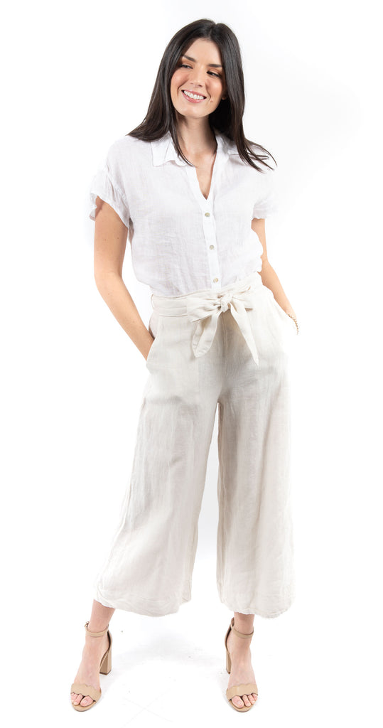 Belted High Waisted Crop Pant Flax