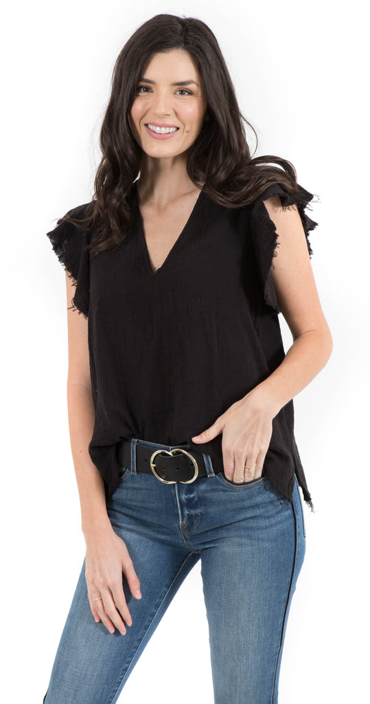 Ruffle Sleeve Top Black